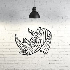 Free 3D printer designs Rhino II wall sculpture 2D, UnpredictableLab