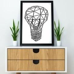 STL Light Bulb Wall Sculpture 2D, UnpredictableLab