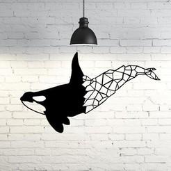 STL Orca Wall Sculpture 2D, UnpredictableLab