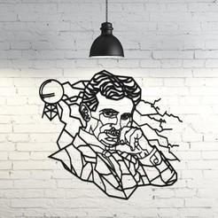 Fichier 3D Nikola Tesla Sculpture murale 2D, UnpredictableLab