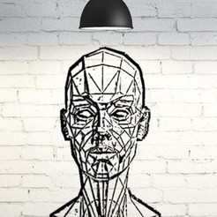 Download free 3D printing models Low Poly Bust Wall 2D, UnpredictableLab