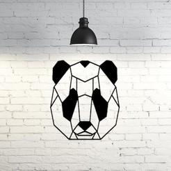 Download free 3D printing files Panda face wall sculpture 2D, UnpredictableLab