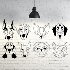 Archivos STL Dogs Compilation Wall sculptures 2D, UnpredictableLab