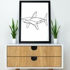 Modelos 3D para imprimir Shark Wall Sculpture  2D, UnpredictableLab