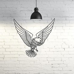Descargar archivos STL Eagle flying wall sculpture 2D, UnpredictableLab