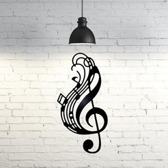 3D printer models Music Notes wall sculpture 2D, UnpredictableLab