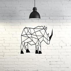 STL Rhino Wall Sculpture 2D, UnpredictableLab