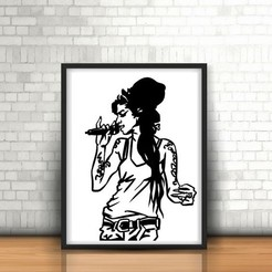 3D printing model Amy winehouse 2D wall sculpture, UnpredictableLab