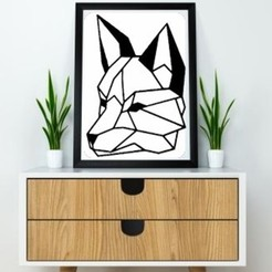 3D printer files Wolf Face Wall Sculpture 2D, UnpredictableLab