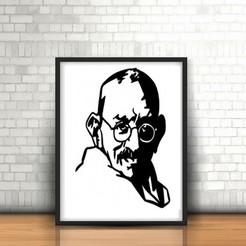 Modelos 3D Gandhi wall sculpture 2D, UnpredictableLab