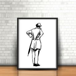 Fichier imprimante 3D Jacques Tati Sculpture murale 2D, UnpredictableLab
