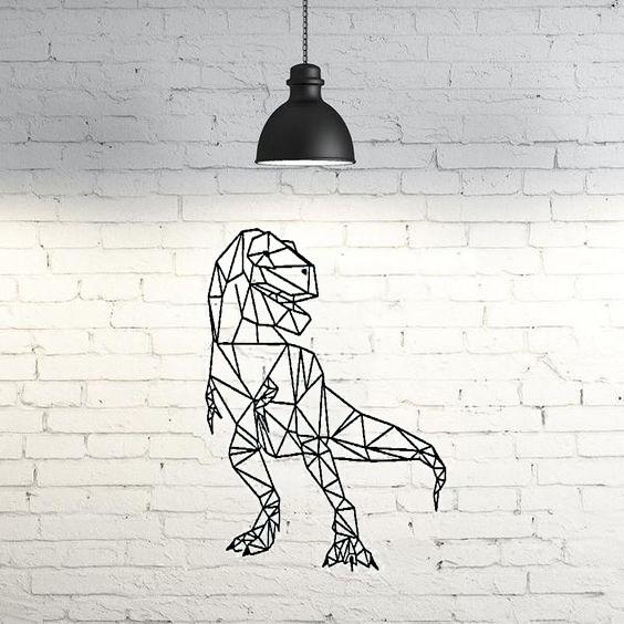 cb2205279a9f5f31a94cfd29751e7b4f_display_large.jpg Download free STL file T-Rex Wall Sculpture 2D • 3D printable template, UnpredictableLab
