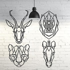 Download STL Pack animals 2D wall sculpture, UnpredictableLab