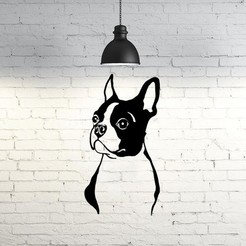 STL Bulldog Face Wall Sculpture 2D, UnpredictableLab