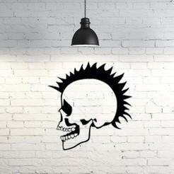 3D printer models Punk Skull 2D, UnpredictableLab