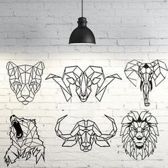 Descargar archivos 3D Pack animales salvajes 2D escultura de pared , UnpredictableLab