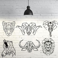 stl Pack wild animals 2D wall sculpture, UnpredictableLab