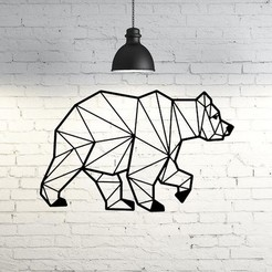 STL Bear III wall sculpture 2D, UnpredictableLab