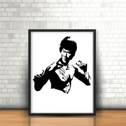 3D printer files Bruce Lee wall sculpture 2D, UnpredictableLab
