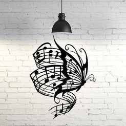 Download STL file Butterfly music wall sculpture 2D, UnpredictableLab