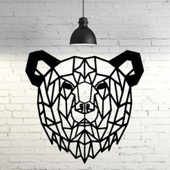 Download 3D printer files Bear face wall sculpture 2D, UnpredictableLab