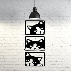 Download 3D printing templates Cats wall sculpture 2D, UnpredictableLab