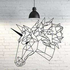 48.Unicorn2.jpg Download STL file Unicorn Wall Sculpture 2D • 3D print object, UnpredictableLab