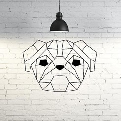 Archivos 3D Pug Dog Wall Sculpture 2D, UnpredictableLab