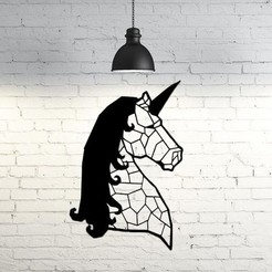Download free STL file Unicorn Wall Sculpture 2D, UnpredictableLab