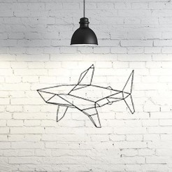 Free 3D print files Shark Wall Sculpture  2D, UnpredictableLab