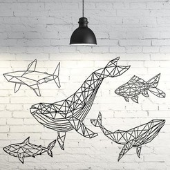 Download 3D model Pack marine animals 2D wall sculptures, UnpredictableLab