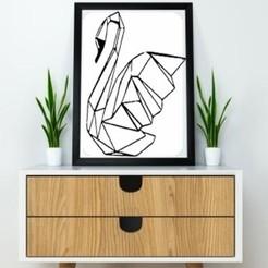 Modelos 3D Swan Wall Sculpture 2D II, UnpredictableLab