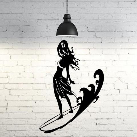 Diseños 3D Surfing girl wall sculpture 2D, UnpredictableLab