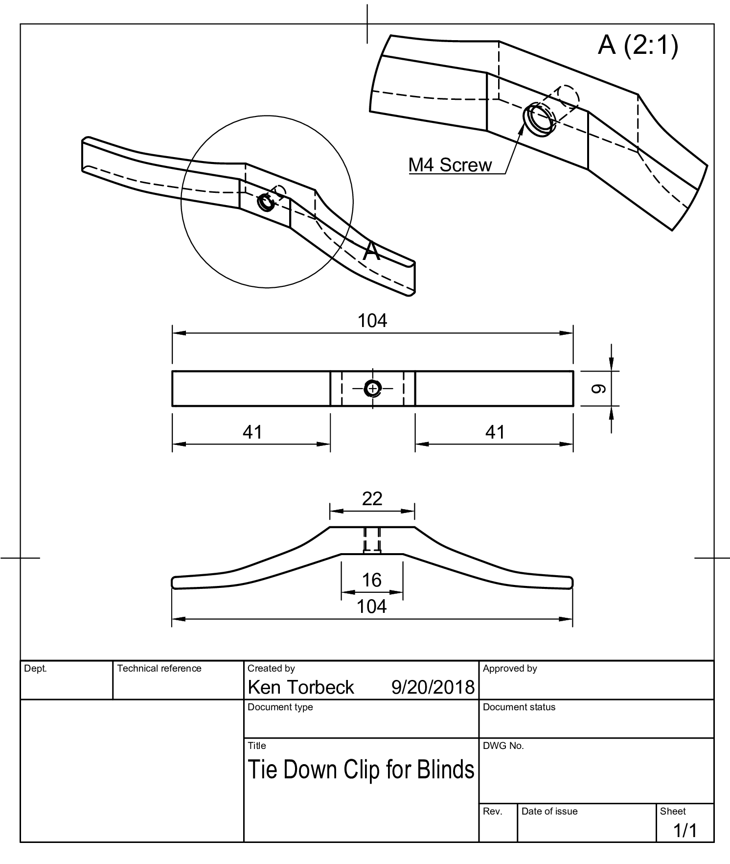 Tie Down Clip for Blinds Drawing v2.png Download free STL file Window Blind Cord Tie-Down / Cord Winder • Model to 3D print, ProfessorFalken