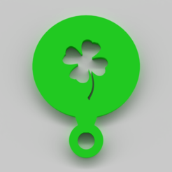 Four Leaf Clover Stencil.png Download STL file Four Leaf Clover Coffee Stencil • 3D printer model, 9t5Design