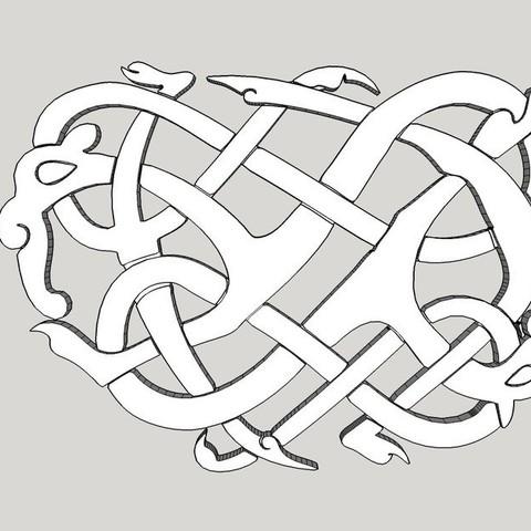Free 3D model Viking pendant Urnes Style, Snorri