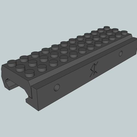 Free STL Picatinny Lego Rail adaptor, Snorri