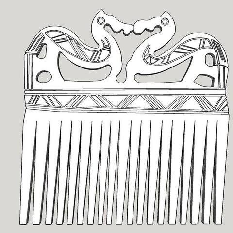Download free 3D printer templates Viking Comb, Snorri
