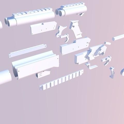 683351ab4707373e9d84c6dc35c57b90_display_large.jpg Download free STL file Ymir - Airsoft Shotgun/grenade launcher • 3D print design, Snorri