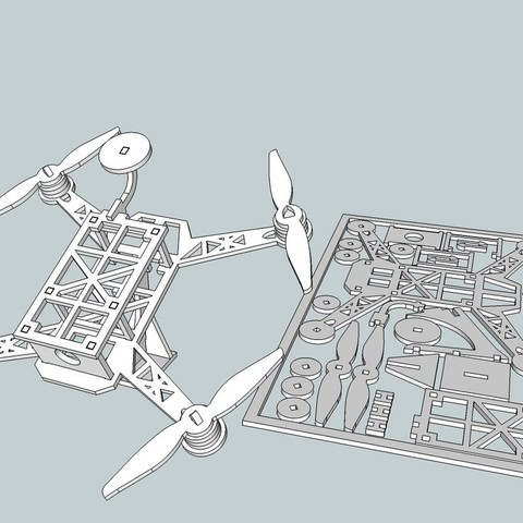 Descargar diseños 3D gratis Flat Drone - Cuadrante de carreras, Snorri