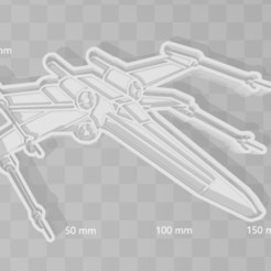 3D print model X wing star wars cookie cutter, PrintCraft