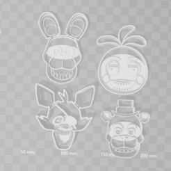 3D printing model Five nights at freddys cookie cutter bundle pack x 4, PrintCraft