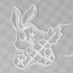 3D printer files baby bugs bunny cookie cutter, PrintCraft