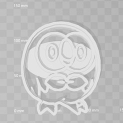 Impresiones 3D rowlet pokemon cookie cutter, PrintCraft