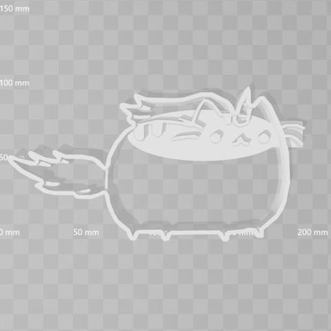 3D printer models Pusheen Unicorn cookie cutter, PrintCraft