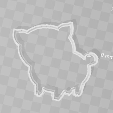STL file Pig piggy cookie cutter, PrintCraft
