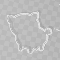 Download 3D printing designs Pig piggy cookie cutter, PrintCraft