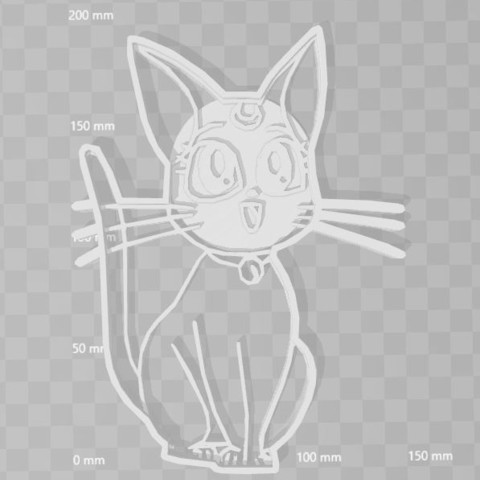 Download 3D model sailor moon cat cookie cutter, PrintCraft