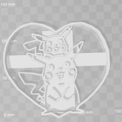Download STL pikachu heart pokemon cookie cutter, PrintCraft