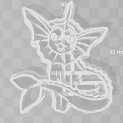 Download 3D printer files vaporeon pokemon cookie cutter, PrintCraft